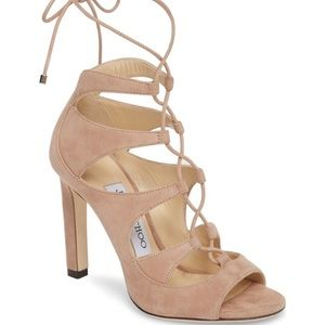 Jimmy choo || tan leather lace up sandals $850